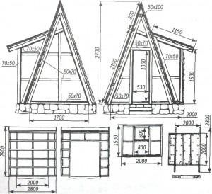 Вид «шалаша» со стороны переднего и заднего фасадов