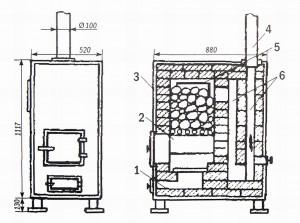 Печь-каменка в металлическом корпусе